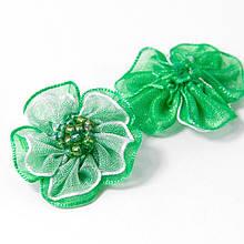 Цветок Ручной Работы, Из органзы и бисера, Цвет: Зеленый, Размер: 30x30x9мм, (УТ100006030)