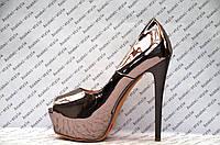 Туфли женские стильные на высоком каблуке лаковые цвет никель