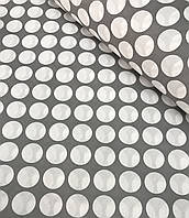 Хлопковая ткань польская горох белый на сером 30 мм