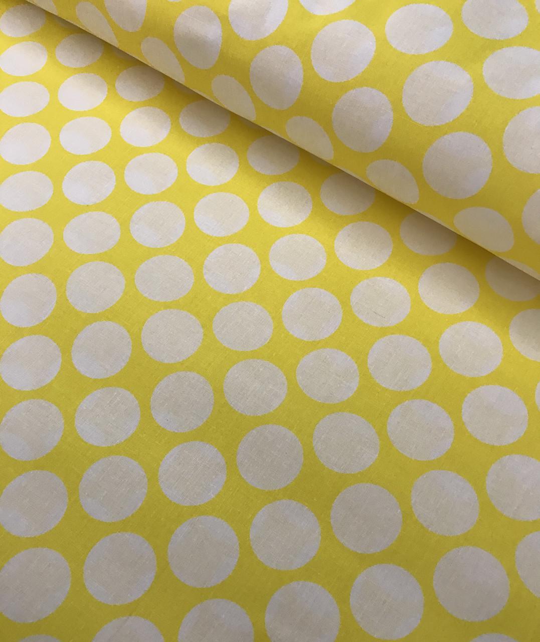 Хлопковая ткань польская горох белый на желтом 30 мм