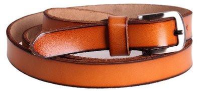 Классный женский узкий ремень из натуральной кожи кт6631 оранжевый ДхШ: 125х2 см.
