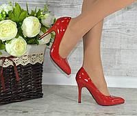 """Туфли лодочки """"Классика"""" красные лаковые на шпильке код 5-109"""