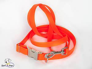 Ошейник из биотана, Оранжевый, 25мм(метал.фастекс)