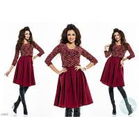 Красивый костюм юбка+топ цвет марсала (бордо)