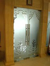 Двойные распашные стеклянные двери