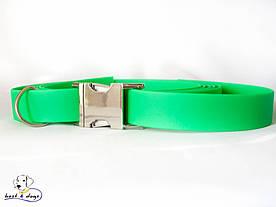 Ошейник из биотана, Зеленый Неон, 19мм(метал.фастекс)