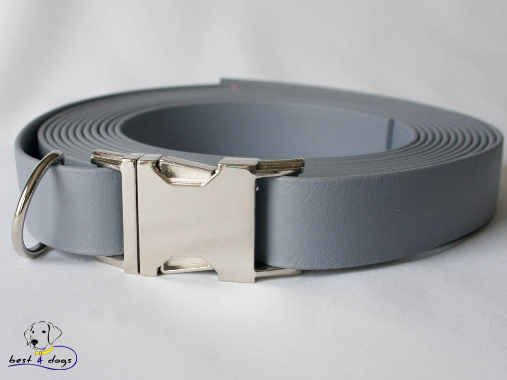 Ошейник из биотана, Серый, 19мм(метал.фастекс)