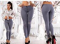 Модные леггинсы-джинсы из стрейч-коттона рванка со вставками гипюра на коленях (2 цвета)