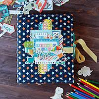 """Детский фотоальбом ручной работы """"Boy"""" (Размер 21х15см, 8 разворотов, кармашки и конвертики)"""