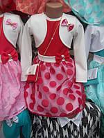 Нарядное детское платье с болеро горошки