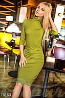 Облегающее трикотажное платье на флисе (Зеленый, Миди)