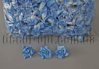 Голова тканевой розы голубая 5см/100шт KWW019