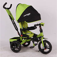 Детский трехколесный велосипед Azimut Crosser T 400 (надувные колеса с фарой), зеленый