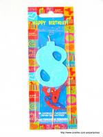 """Свеча на торт детская """"Человек-паук"""" цифра """"8"""" голубая"""