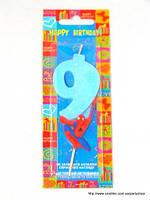"""Свеча на торт детская """"Человек-паук"""" цифра """"9"""" голубая"""