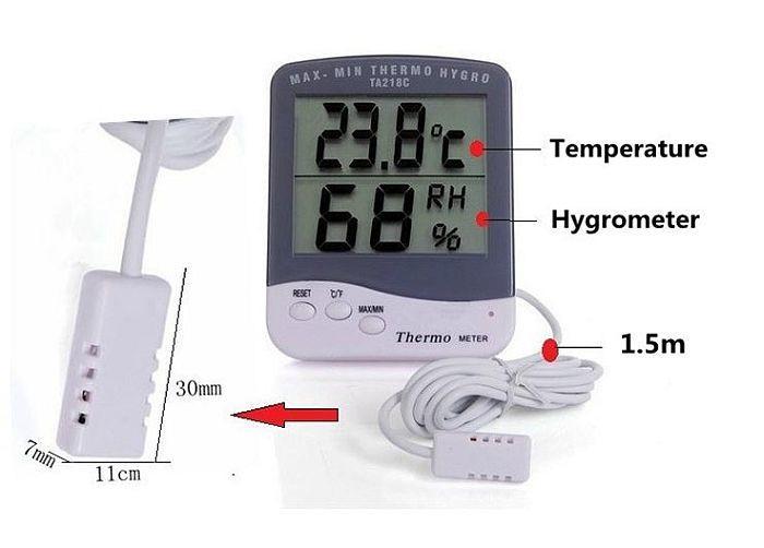 Цифровой термометр гигрометр Ta218c с выносным датчиком