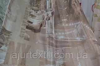 """Тюль печать """"Город"""" насыщенный коричневый, фото 3"""