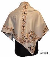 Шелковый бежевый атласный платок Камелия