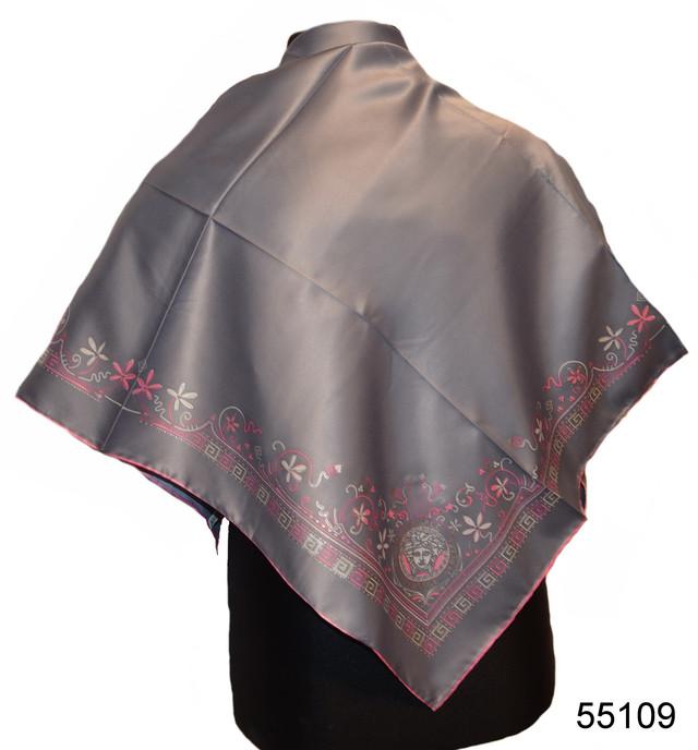 Шелковый серый римский атласный платок 1