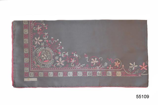 Шелковый серый римский атласный платок 2