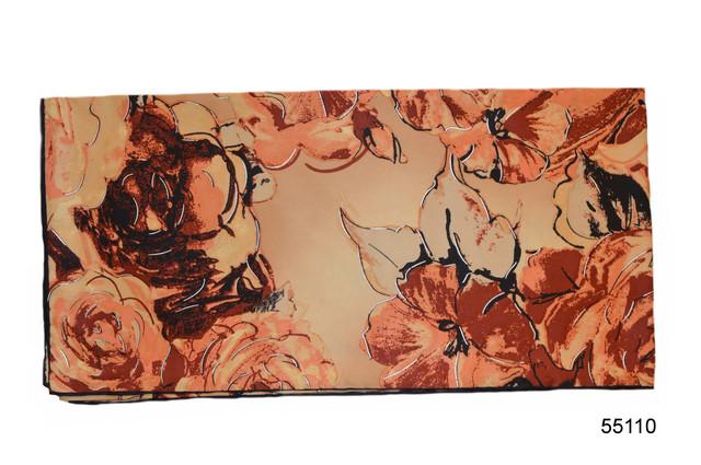 Шелковый коричневый атласный платок 2