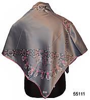 Шелковый серый атласный платок Камелия