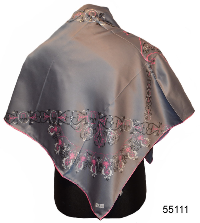 Шелковый серый атласный платок Камелия 1