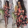 """Платье модное шелк """"Тюльпаны"""" разные цвета SML1294"""