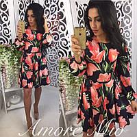 """Платье модное шелк """"Тюльпаны"""" разные цвета SML1294, фото 1"""