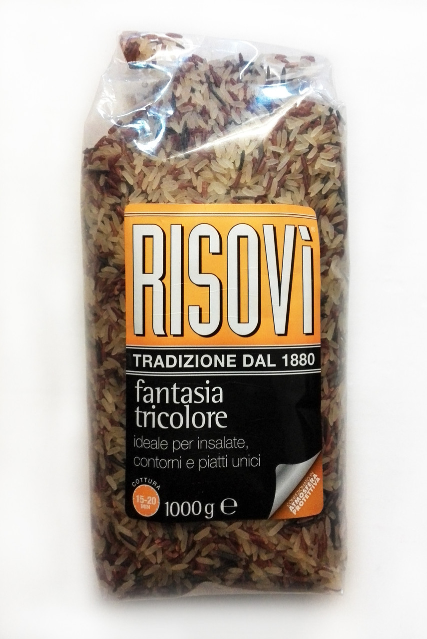 """Итальянский смешанный рис """"Risovi Riso Fantasia Tricolor"""" (красный, черный, пропаренный), 1 кг"""