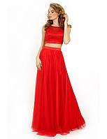 Вечернее платье в виде топа и юбки из сетки