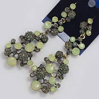 Сережки вечерние серебристые с серыми камнями