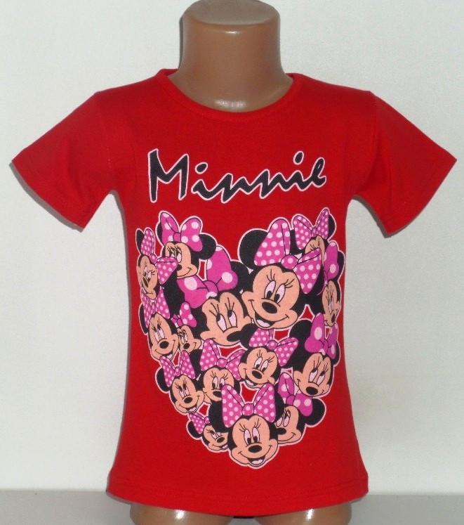 """Детская футболка """"Minnie"""" для девочек 4,5,6,7,8 лет красный"""