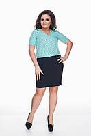Женское модное платье с коротким рукавом 173 / батал / ментол+темно-синий