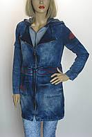 Жіноча джинсова куртка-плащ з капюшоном Podyumpark