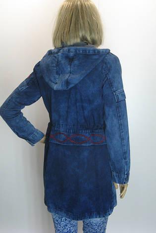 Жіноча джинсова куртка-плащ з капюшоном Podyumpark, фото 2