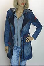 Жіноча джинсова куртка-плащ з капюшоном Podyumpark, фото 3