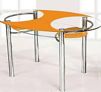 Стеклянный кухонный стол с полкой  О1