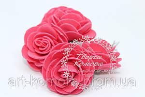 Розы из фома красные, 4,5 см. В наборе 5 цветков