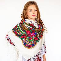 Украинский модный платок для девушек (100х100см,белый, 100%-акрил)