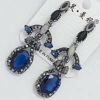 Сережки вечерние серебристые с синими камнями