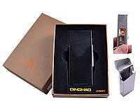 Портсигар с USB зажигалкой в подарочной упаковке (Под пачку сигарет Slim, Спираль накаливания) №4840 Black
