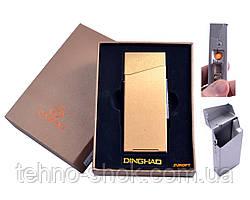 Портсигар с USB зажигалкой в подарочной упаковке (Под пачку сигарет Slim, Спираль накаливания) №4840 Gold