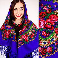 Украинский модный платок с цветами (125х125см,синий, 100%-акрил)