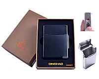 Портсигар + USB зажигалка (Под сигаретную пачку, Спираль накаливания) №4845 Black