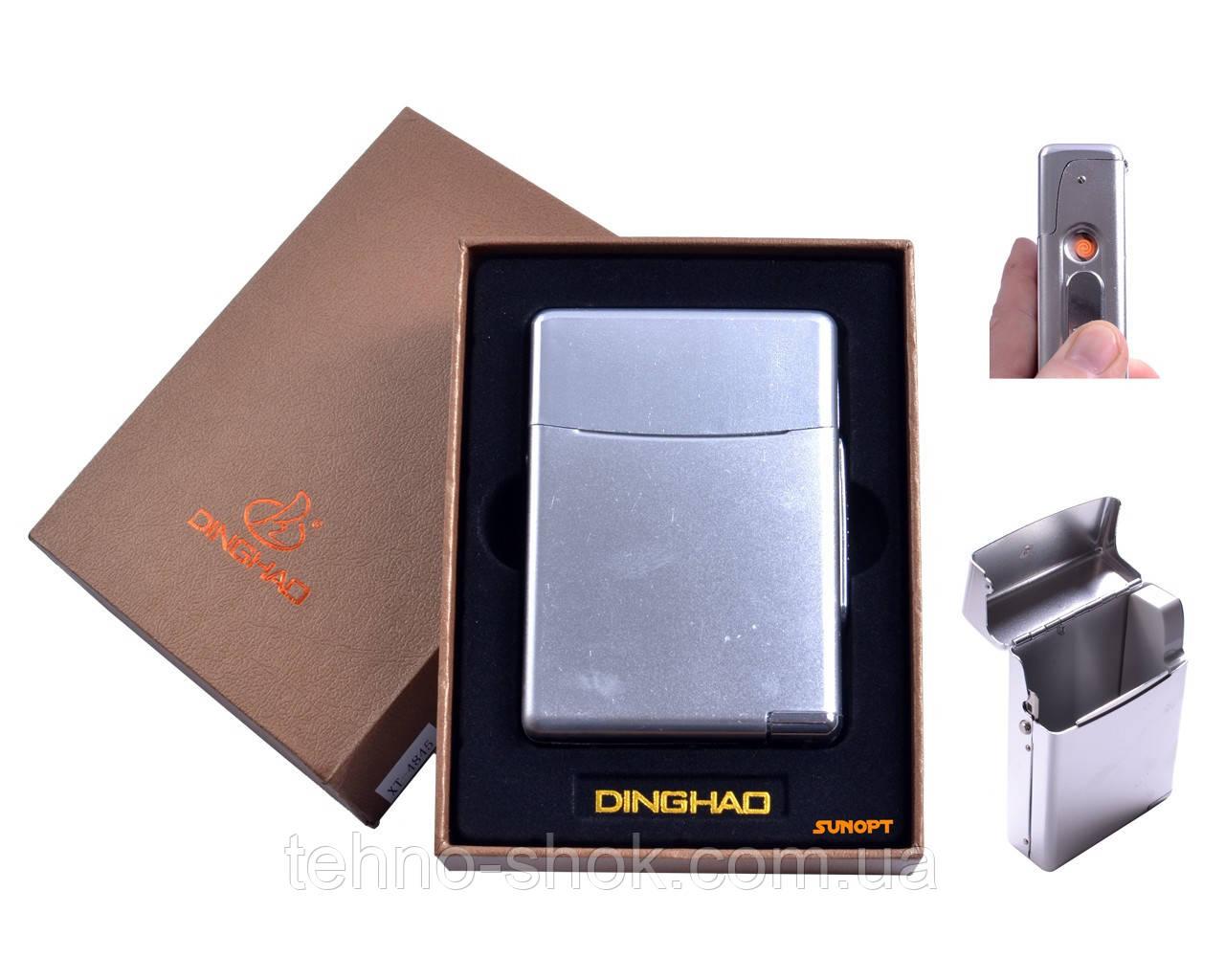 Портсигар Dinghao + USB зажигалка (Под сигаретную пачку, Спираль накаливания) Silver