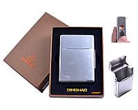 Портсигар + USB зажигалка (Под сигаретную пачку, Спираль накаливания) №4845 Silver