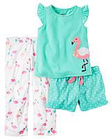 "Пижама 3в1 Carter's ""Розовый фламинго"" 3Т,4Т"