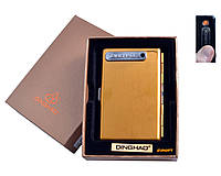Портсигар + USB зажигалка (На 10 сигарет, Спираль накаливания) №4846 Gold