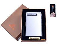 Портсигар + USB зажигалка (На 10 сигарет, Спираль накаливания) №4846 Silver